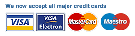 We now accept all major credit cards; VISA, VISA Electrno, Mastercard, Maestro